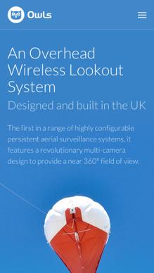 Owls website mobile screenshot of homepage