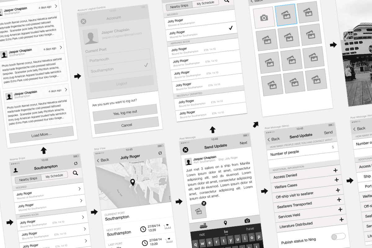 Shipvisitor Wireframes