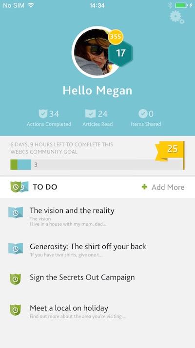 Tearfund Rhythms mobile app home screenshot