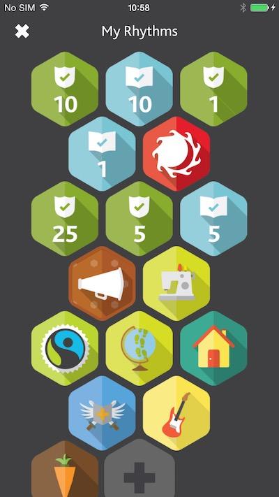 Tearfund Rhythms mobile app badges screenshot