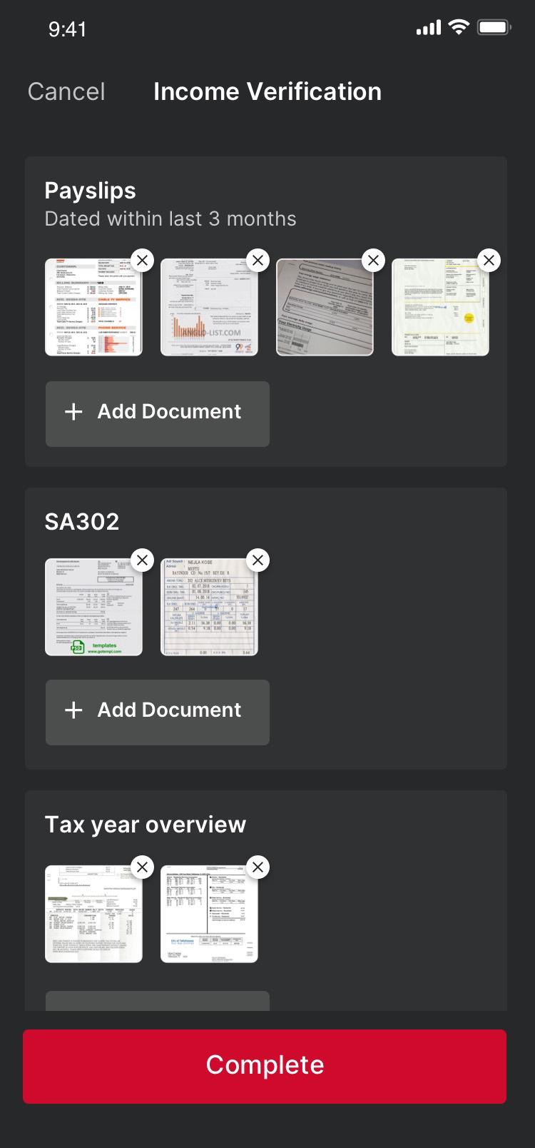 John Charcol App Document Upload