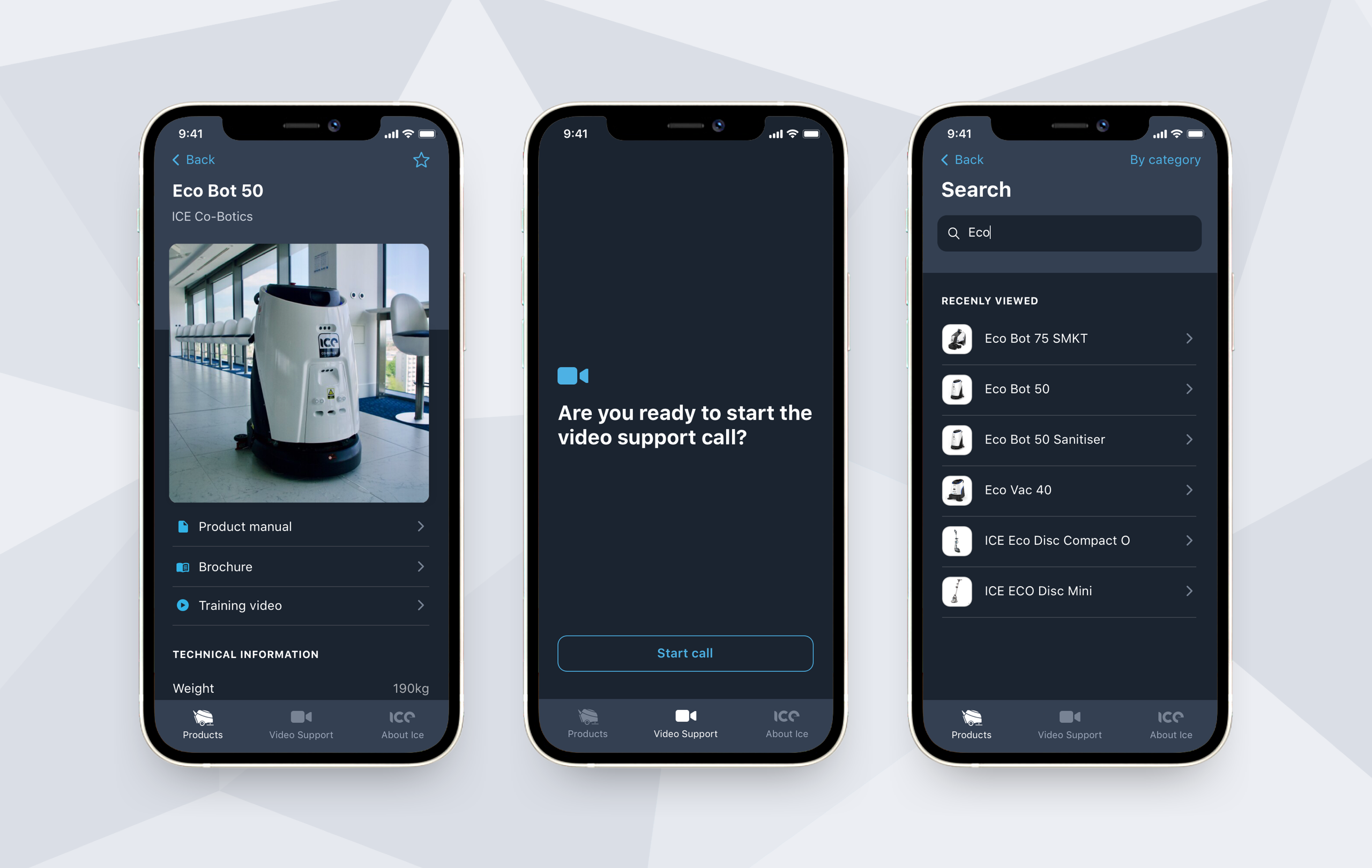The ICE app - Product page, Smartcall video support and product inventory