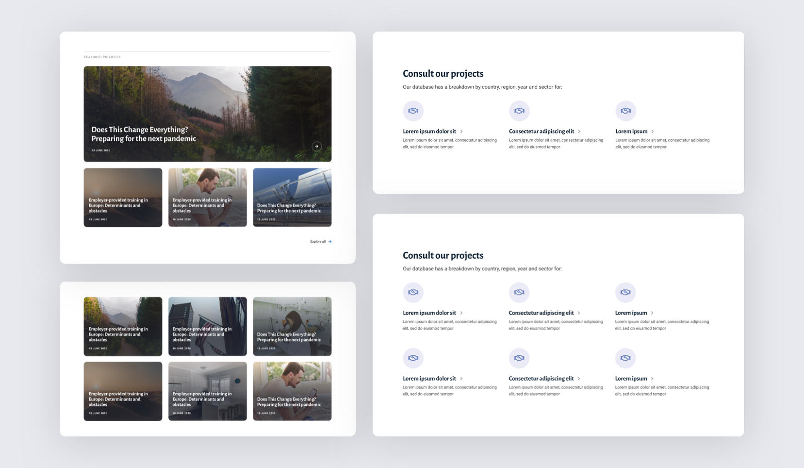 Components developed for the EIB website