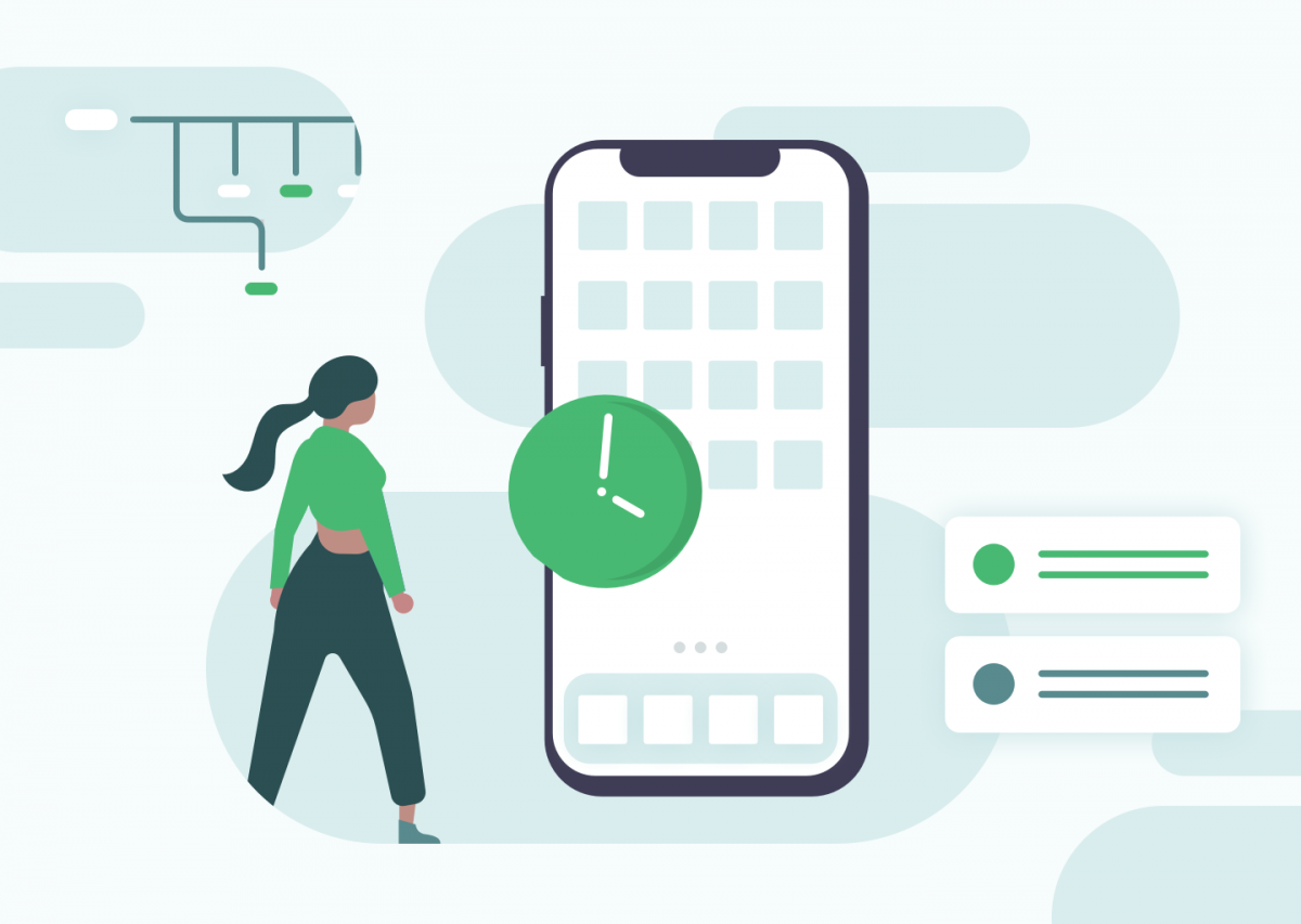Illustration of woman with mobile app and a clock to demonstrate visually how long an app takes to create.