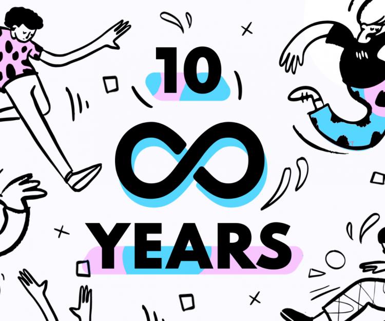 Rareloop is 10, illustration of the Rareloop logo and people dancing and celebrating.